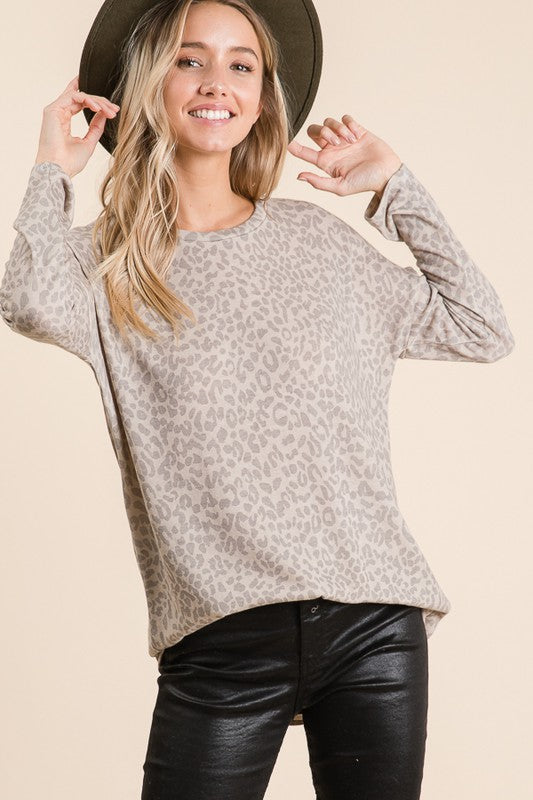 Beige Animal Print Top