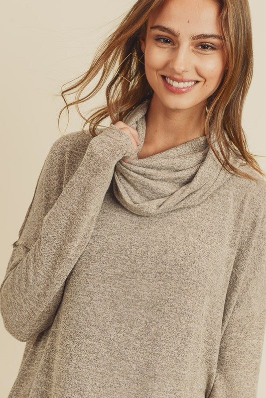 Sand Cowl Neck Top