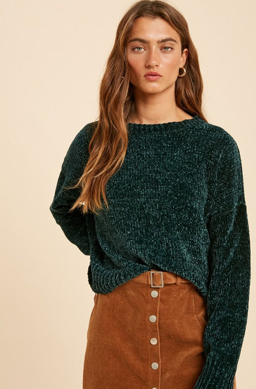 Hunter Green Chenille Crop Pullover