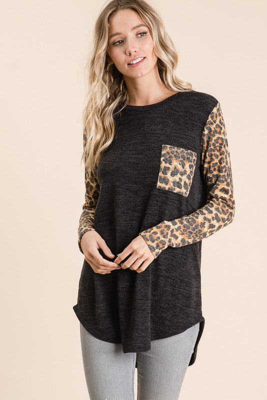 Animal Print Sleeve Top - T1082