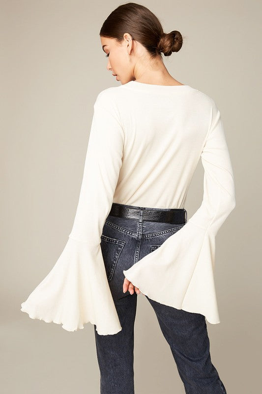 Natural Bell Sleeve Top