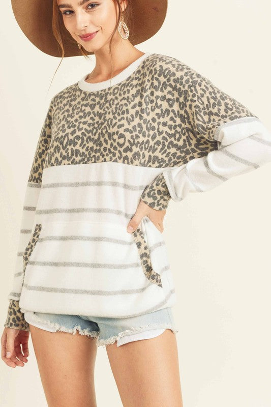Leopard Striped Top - T1090