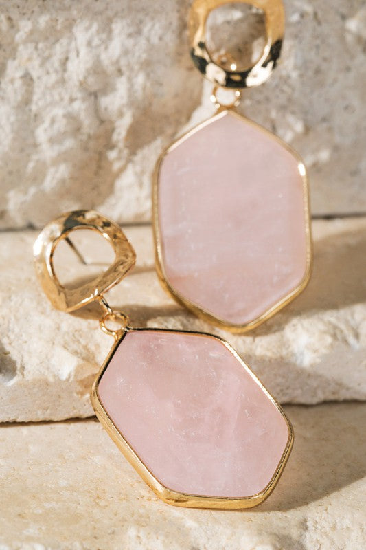 Rose Natural Stone Earrings