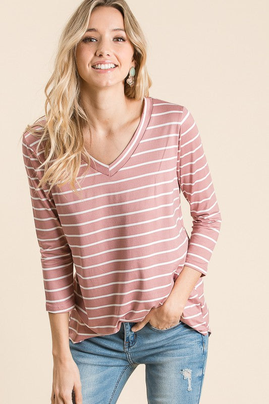 Mauve Stripe V-neck Top - T1083