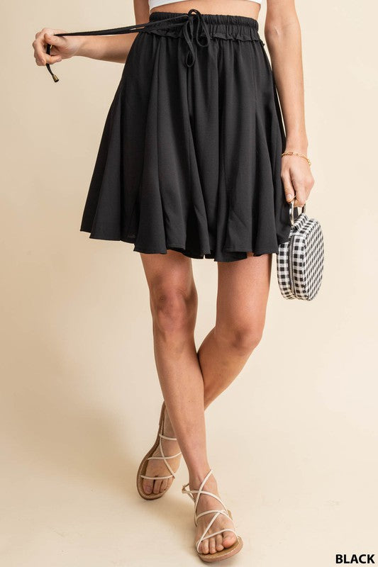 Black Ruffle Mini Skirt
