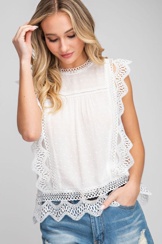 White Lace Trim Top