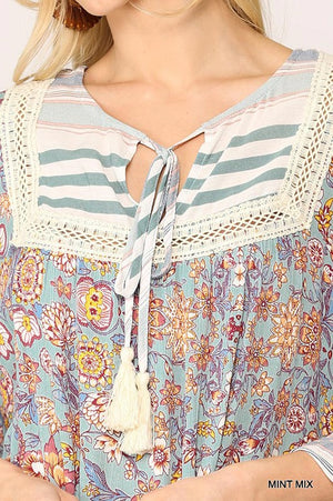 Mint Mix Peasant Top