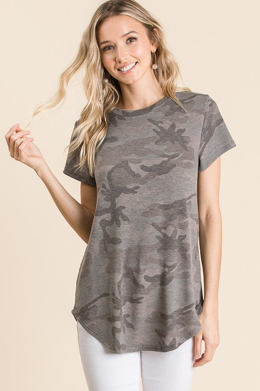 Camo Short Sleeve Knit Top