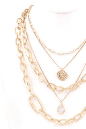 Worn Gold Layered Necklace