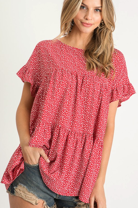 Polka Dot Woven Top (Red)