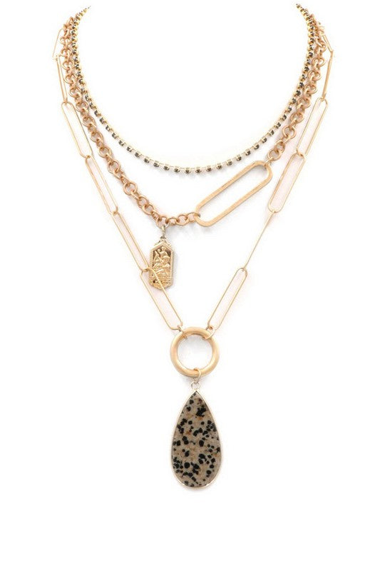 Dalmation Teardrop Layer Necklace