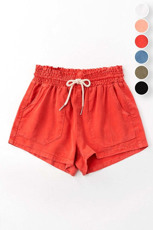 Rust Drawstring Linen Shorts