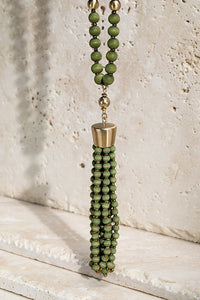 Beaded Tassel Necklace (Olive)