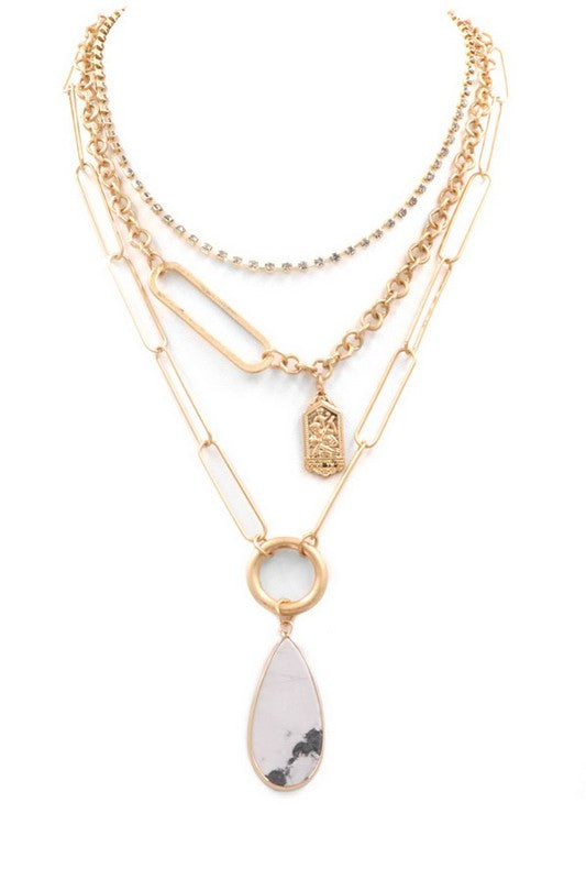 White Teardrop Layer Necklace