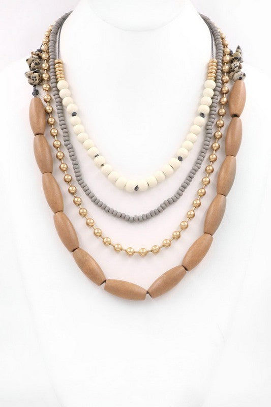 Wood Multi-Layer Necklace