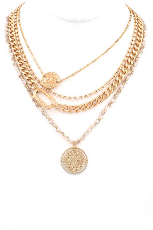 Layered Coin Charm Necklace