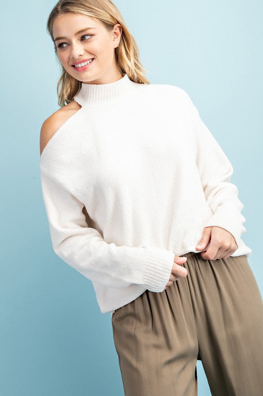 Cream Chenille Cold Shoulder