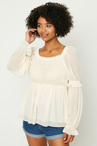 Cream Smocked Top