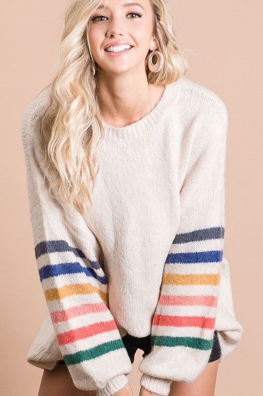 Oatmeal Multi Stripe Sweater