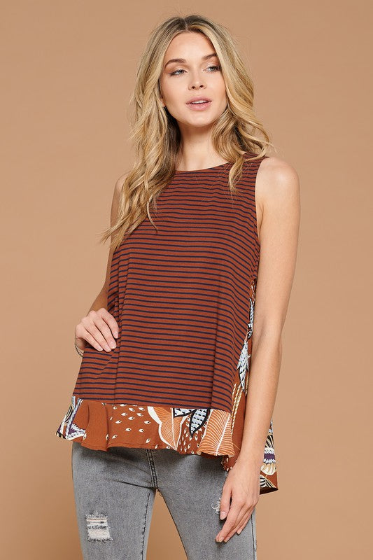 Brown Contrast Keyhole Top