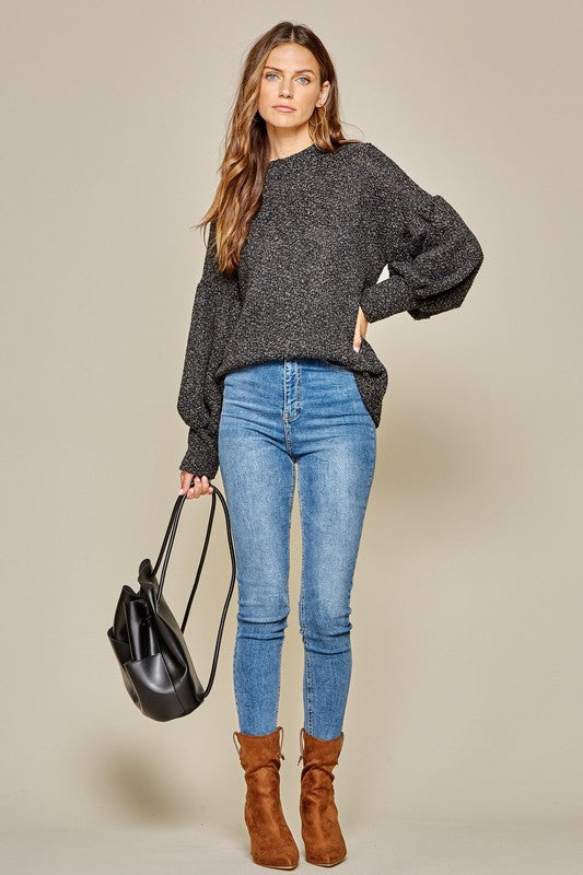 Charcoal Balloon Sleeve Pullover
