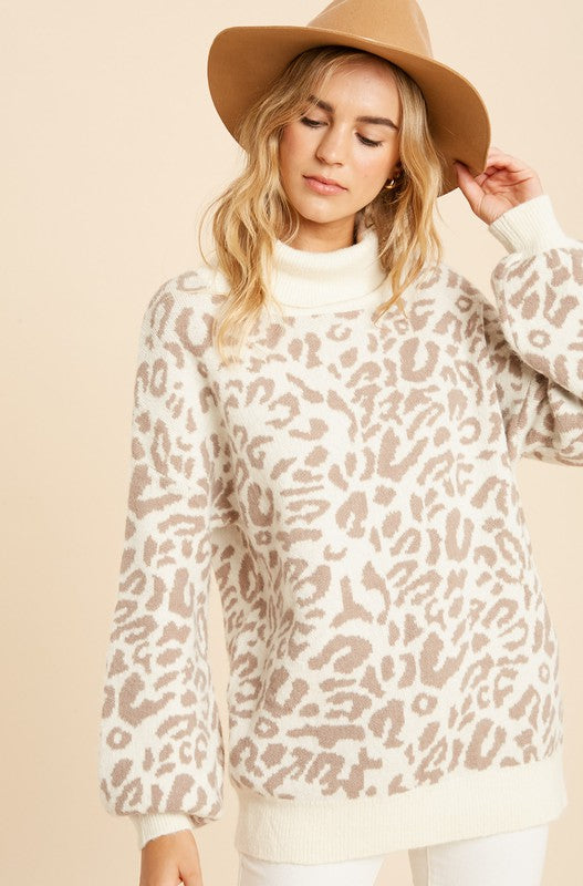 Leopard Turtleneck
