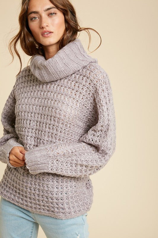 Grey Lilac Knit Turtleneck
