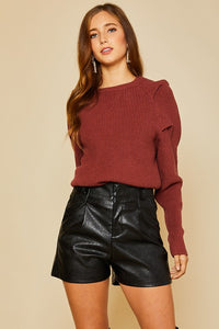 Rust Power Shoulder Sweater