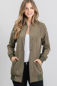Olive Faux Suede Bomber Jacket