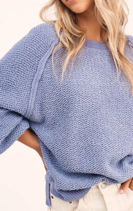 Steel Blue Texture Sweater