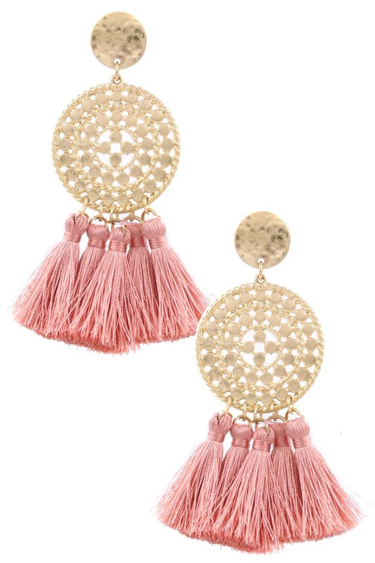Rose Tassel Drop Earrings