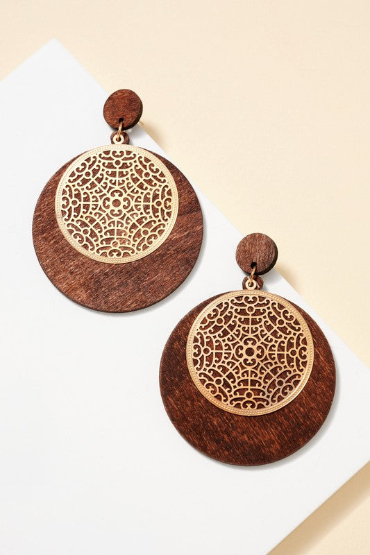 Wood Cut Metal Earrings