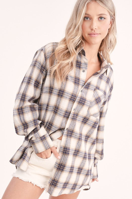 Blue Plaid Button Up
