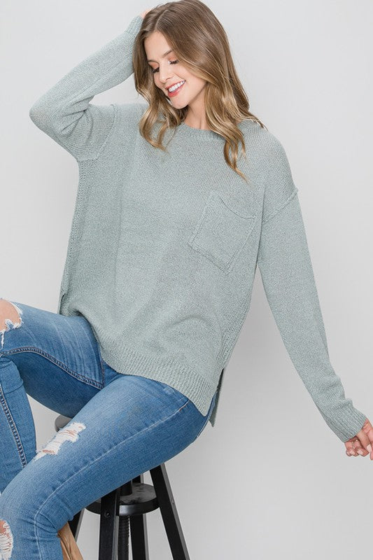 Aqua Pocket Sweater