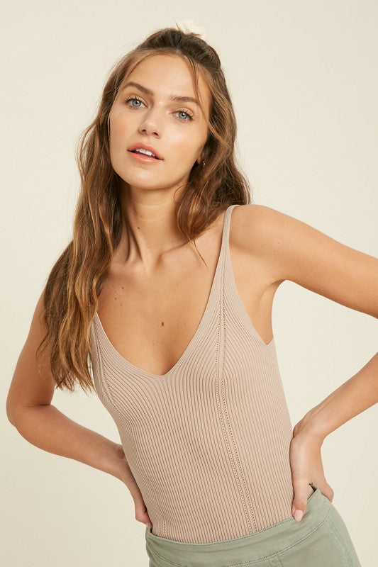 Ribbed Bodysuit (Taupe)