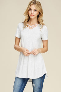 Short Sleeve Crisscrossed Neck Tunic - LIGHT GREY - T62