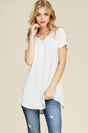 Short Sleeve Crisscrossed Neck Tunic - Black - T63