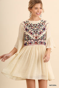 Floral Embroidered Dress - Natural - T38