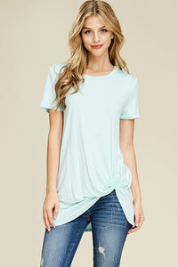 Heather Gray Short Sleeve Solid Twisted Knot Hem Top - T59