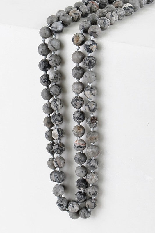 Grey Stone Long Necklace