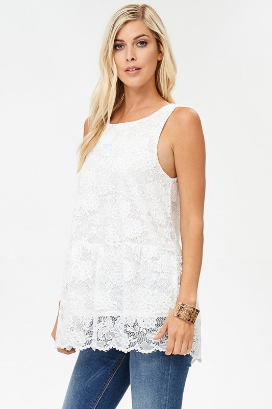 Ivory Lace Tunic Top - T10