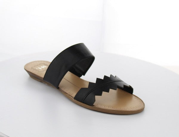Double Strap Slide Sandals - Black - T94