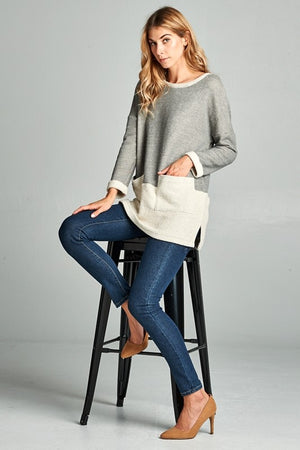 Grey Front Pocket Tunic - T199