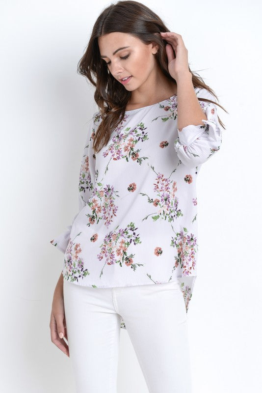 Floral Print High Low Blouse - T366 (Lavender)