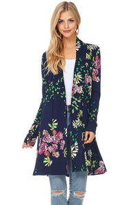 Floral Long Sleeve Open Front Cardigan - T52