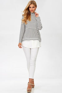 Stripe Turtleneck Top - T279