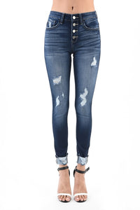 Distressed Button Fly Denim - T374