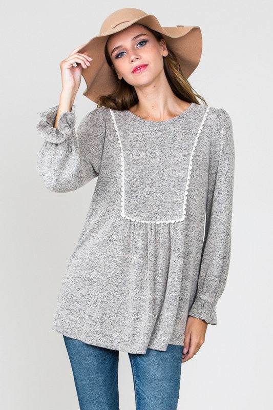Crochet Trim Taupe Sweater - T198