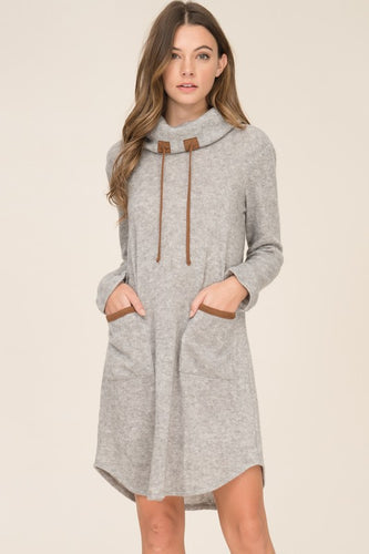 Heather Cowl Neck Sweater Tunic Dress - T201