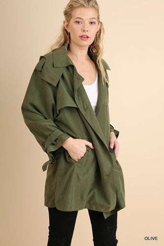 Button Up Jacket - Olive- T183